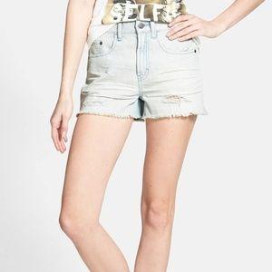 BP. Light Wash Distressed High Rise Denim Shorts 3